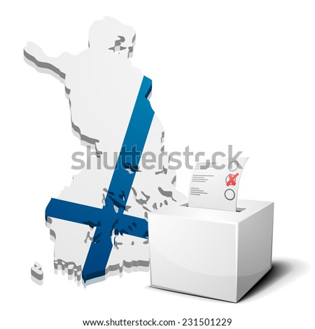 detailed illustration of a ballotbox in front of a map of Finland, eps10 vector - stock vector