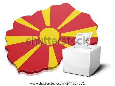 detailed illustration of a ballotbox in front of a map of Macedonia, eps10 vector - stock vector