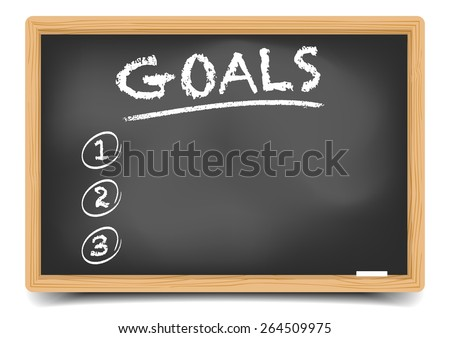 detailed illustration of a blackboard with an empty goals list, eps10 vector, gradient mesh included  - stock vector