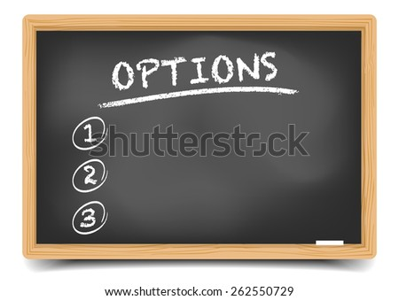 detailed illustration of a blackboard with an options list, eps10 vector, gradient mesh included