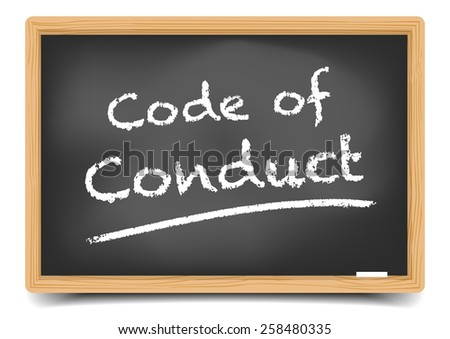 detailed illustration of a blackboard with Code of Conduct text, eps10 vector, gradient mesh included - stock vector