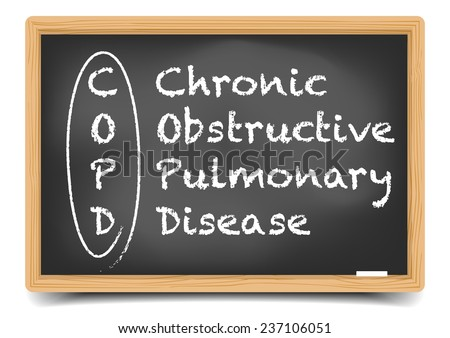 detailed illustration of a blackboard with COPD term explanation, eps10 vector, gradient mesh included - stock vector