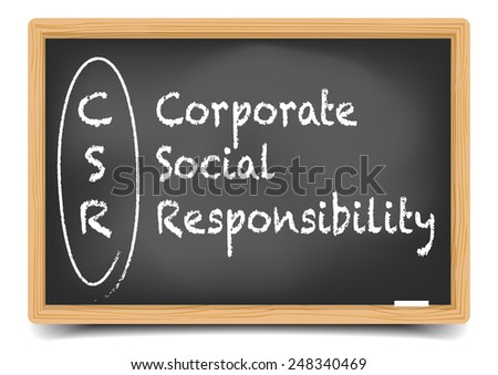detailed illustration of a blackboard with CSR business term explanation, eps10 vector, gradient mesh included - stock vector