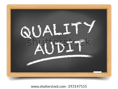 detailed illustration of a blackboard with Quality Audit text, eps10 vector, gradient mesh included - stock vector