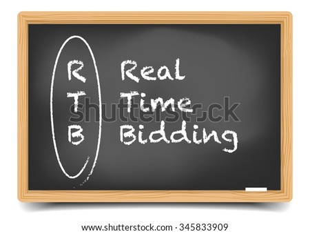 detailed illustration of a blackboard with Real Time Bidding term explanation, eps10 vector, gradient mesh included - stock vector