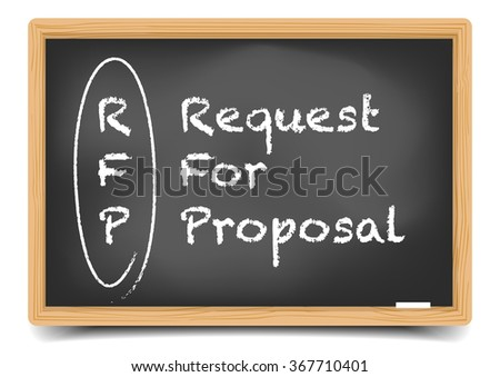 detailed illustration of a blackboard with Request for Proposal term explanation, eps10 vector, gradient mesh included - stock vector