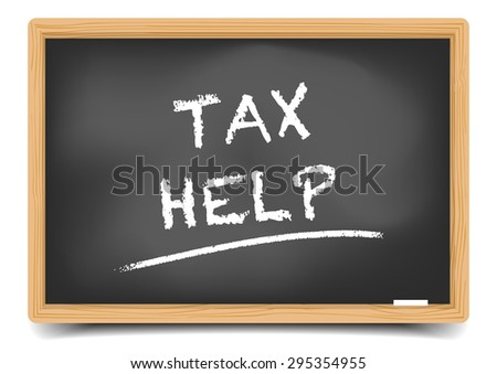 detailed illustration of a blackboard with Tax Help text, eps10 vector, gradient mesh included - stock vector