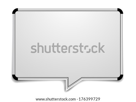 detailed illustration of a blank whiteboard in a shape of a speech bubble, eps10 vector - stock vector