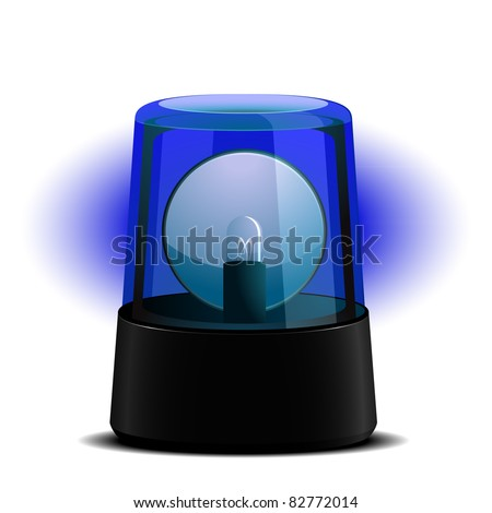 detailed illustration of a blue flashing light, symbol for alert and emergency, eps8 vector - stock vector