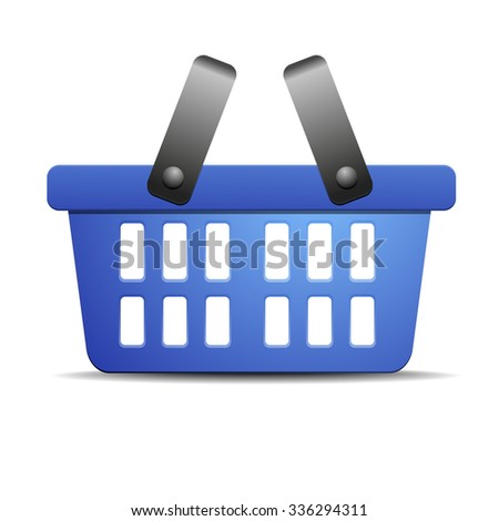 detailed illustration of a blue shopping basket, eps10 vector - stock vector