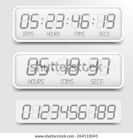 detailed illustration of a bright themed digital countdown timer with LCD-Digits, eps10 vector  - stock vector