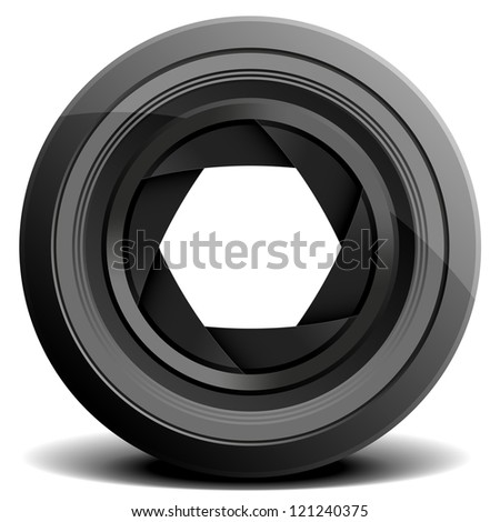 detailed illustration of a camera lens - stock vector