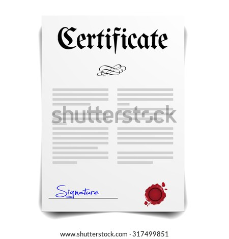 detailed illustration of a Certificate Letter, eps10 vector - stock vector