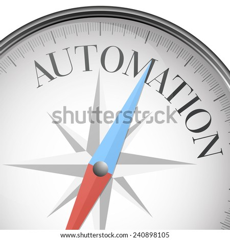 detailed illustration of a compass with automation text, eps10 vector - stock vector