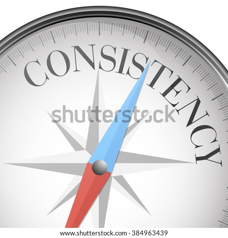 detailed illustration of a compass with consistency text, eps10 vector - stock vector