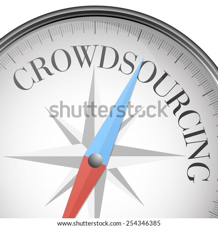 detailed illustration of a compass with crowdsourcing text, eps10 vector - stock vector