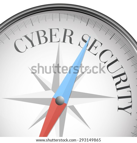 detailed illustration of a compass with Cyber Security text, eps10 vector - stock vector