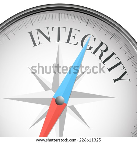 detailed illustration of a compass with integrity text, eps10 vector - stock vector