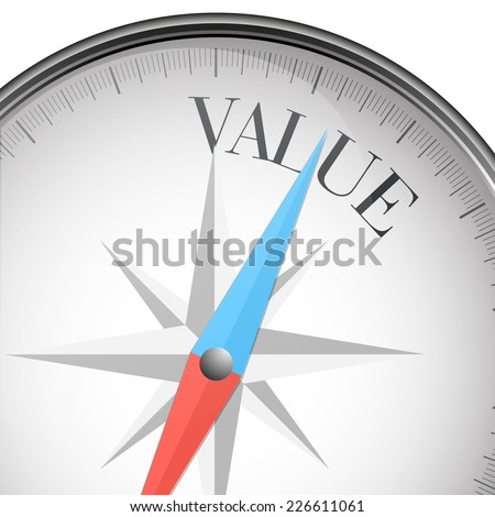 detailed illustration of a compass with value text, eps10 vector - stock vector