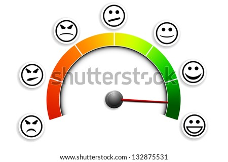 detailed illustration of a customer satisfaction meter with smilies, eps10 vector - stock vector