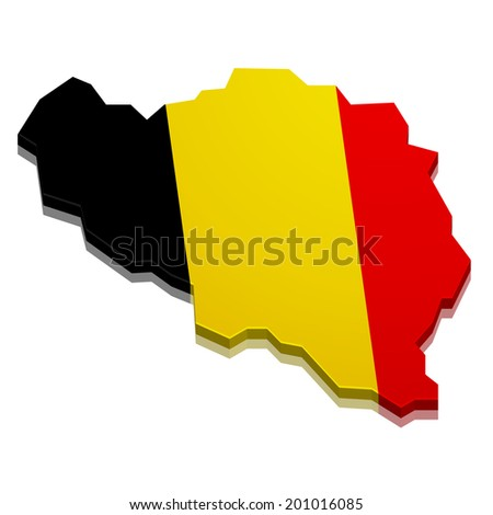 detailed illustration of a 3D map of belgium with flag, eps10 vector - stock vector