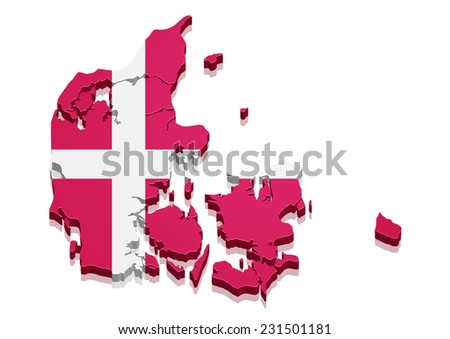 detailed illustration of a 3d Map of Denmark with flag, eps10 vector - stock vector
