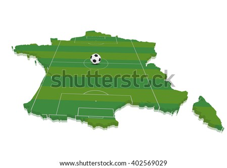 detailed illustration of a 3D map of france with a soccer field and ball, eps10 vector - stock vector