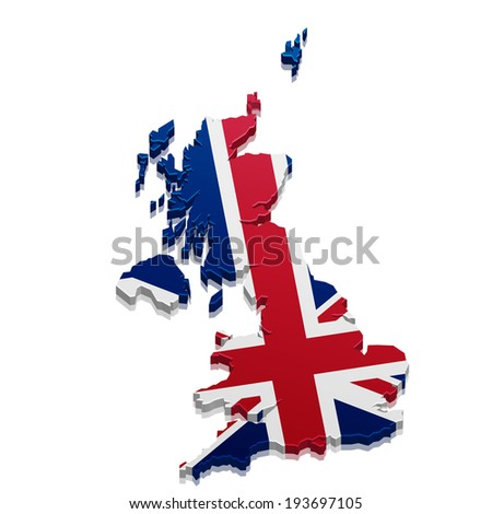detailed illustration of a 3D Map of Great Britain, eps10 vector