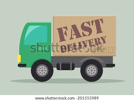 detailed illustration of a delivery truck with fast delivery label, eps10 vector