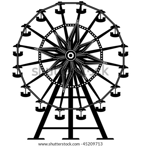 Detailed illustration of a ferris wheel from an amusement park - stock vector