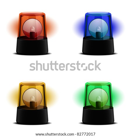 detailed illustration of a flashing lights in various colors, symbol for alert, warning and emergency, eps8 vector