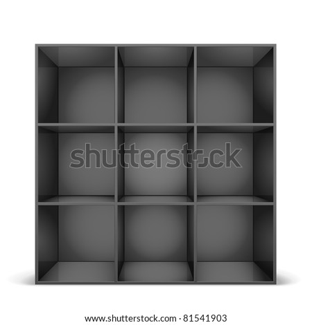 detailed illustration of a glossy black bookshelf, eps8 vector - stock vector