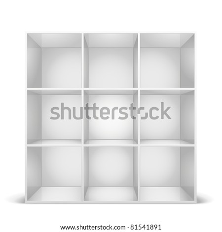 detailed illustration of a glossy white bookshelf, eps8 vector