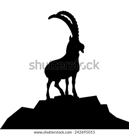 detailed illustration of a goat silhouette on a mountain hilltop, eps10 vector - stock vector