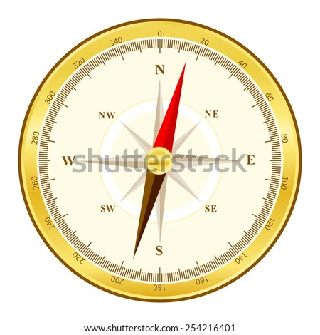 Detailed illustration of a golden compass with all directions north east south and west isolated on white background. - stock vector