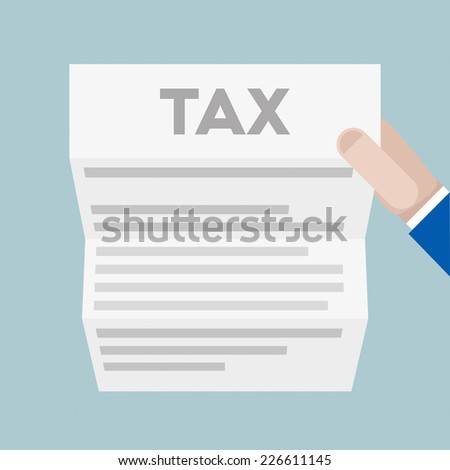 detailed illustration of a hand holding a sheet of paper with Tax headline, eps10 vector - stock vector