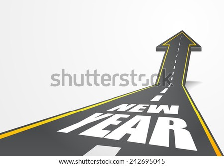 detailed illustration of a highway road going up as an arrow with new year text, eps10 vector - stock vector