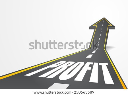 detailed illustration of a highway road going up as an arrow with Profit text, eps10 vector - stock vector