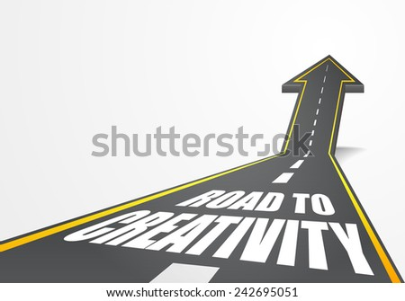 detailed illustration of a highway road going up as an arrow with road to creativity text, eps10 vector - stock vector
