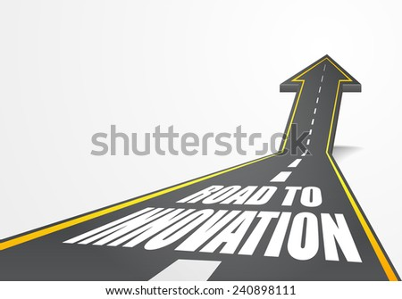 detailed illustration of a highway road going up as an arrow with Road To Innovation text, eps10 vector - stock vector