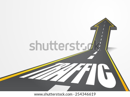 detailed illustration of a highway road going up as an arrow with Traffic text, eps10 vector - stock vector