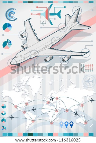 Detailed illustration of a info graphic set elements with airplane in various colors - stock vector