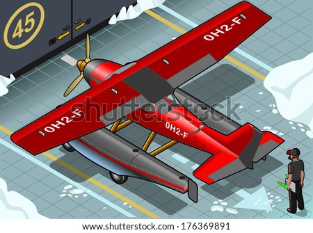 detailed illustration of a Isometric Artic Hydroplane Landed in Rear View - stock vector