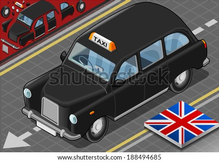 Detailed illustration of a Isometric Black London Taxi in Front View - stock vector