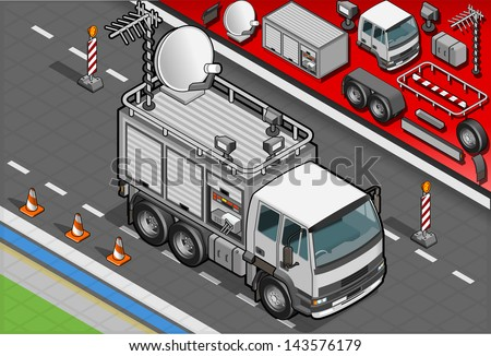 Detailed illustration of a Isometric Broadcast TV Truck in front view - stock vector