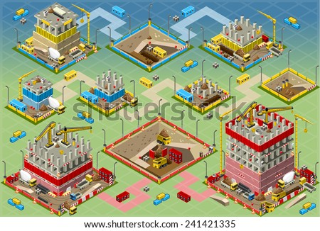 Detailed illustration of a Isometric Building Construction Mega Set all in - stock vector