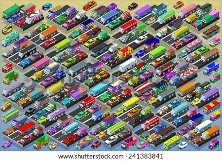 Detailed illustration of a Isometric Cars, Buses, Trucks, Vans, Mega Collection All In - stock vector