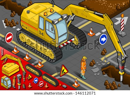 detailed illustration of a isometric chisel excavator in Front View with Man at Work - stock vector