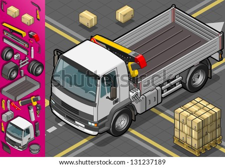 Detailed illustration of a isometric container truck in front view - stock vector