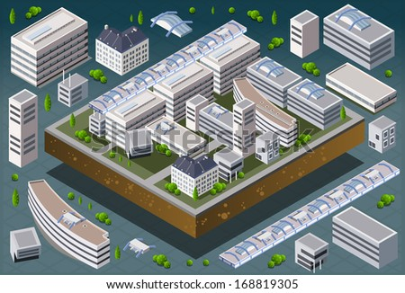 Detailed illustration of a Isometric European building - stock vector